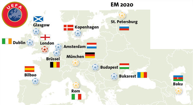 Vart spelas EM 2020 ?
